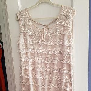 White Lace Ruffle Dress